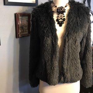 NWOT grey blue faux fur open jacket wide sleeve XS